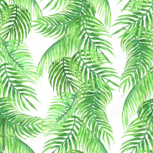 Wall Murals Tropical Leaves Watercolor pattern of palm