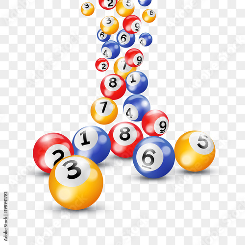 Bingo lottery 3d balls for keno lotto on vector transparent background Wallpaper Mural
