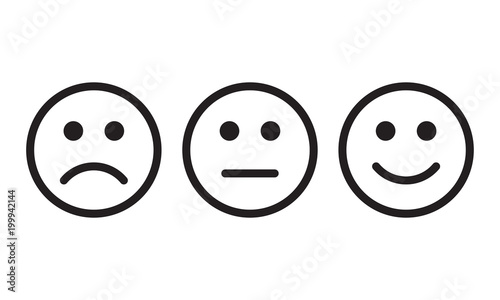 Fototapeta  Face smile icon positive, negative neutral opinion vector signs