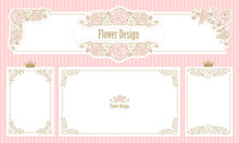 Royal Floral Frame.Set Of Flower Borders.Vintage Wedding Invitation.Cute Web Banner Corner. Template For Little Princess. Pink Rose With Gold Thin Line Ornament.Classic Victorian Elements Of Design