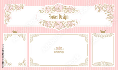0de17e5bfca6 Royal floral frame.Set of flower borders.Vintage wedding invitation.Cute  web banner