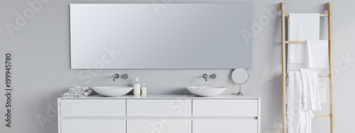 Fotomural new modern bathroom with a font mirror. 3d rendering