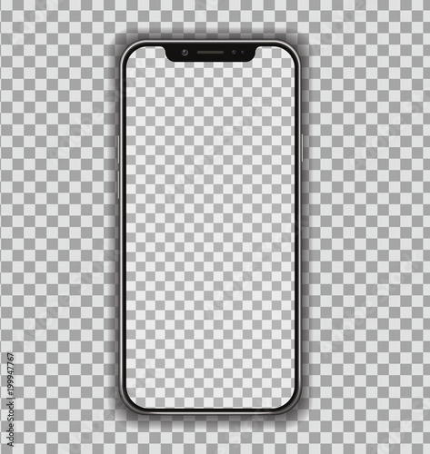 Fotografía  New High Detailed Realistic Smartphone similar to phone Isolated on Transparent Background
