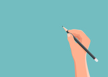 Hand Holding Pencil With Background Blank Spaces For Text. Vector Illustration