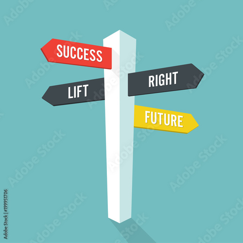 Fotografía  Direction sign with text  future success left and right