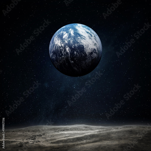 The Earth from moon surface  Elements of this image