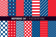 Independence Day Vector Patterns In Red White Blue Stars, Stripes, Polka Dots And Chevron. American 4th Of July Party Celebration Backgrounds. Repeating Pattern Tile Swatches Included.