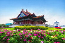 .Chiang Kai-Shek Memorial Hall,  Landscape Scenery View Of Chiang Kai-shek Memorial Hall With Flower Garden In Morning, The Most Famous Tourist Attraction In Taipei, Taiwan, 2018