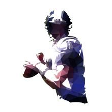 American Football Player Holding Ball, Polygonal Vector Illustration