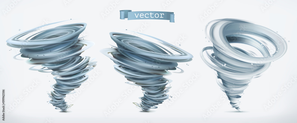 Fototapeta Tornado. 3d vector icon set