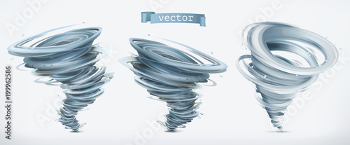 Obraz Tornado. 3d vector icon set - fototapety do salonu