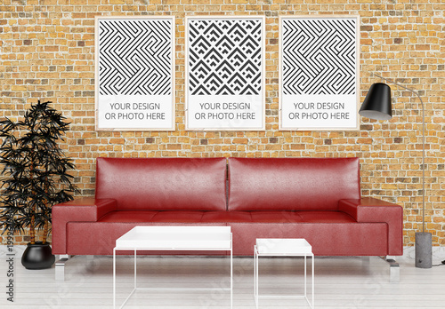 3 Vertical Posters Above Living Room Sofa Mockup Buy This Stock