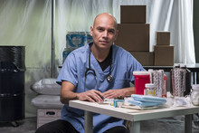 Portrait Of A Medical Doctor In A Trauma Tent