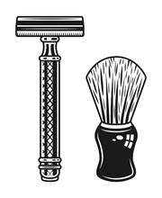 Double Edged Razor And Shaving Brush Objects