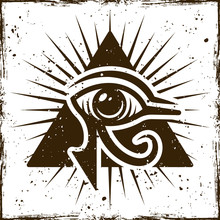 Eye Of Horus In Triangle, Ancient Egyptian Symbol