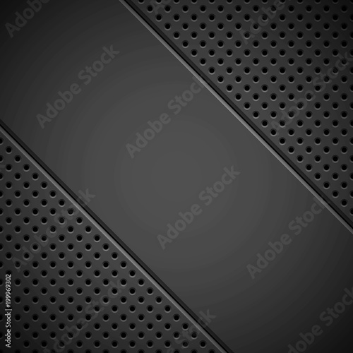 Black technology background with circle grate perforated pattern, speaker grill texture and bevels for design concepts, wallpapers, web, presentations and prints Tablou Canvas