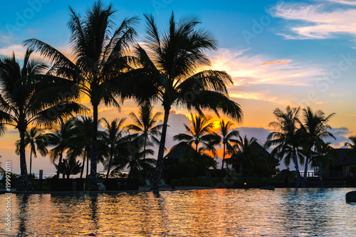 Tropical paradise sunset landscape with palm trees at swimming pool. Summer vacation and tourism concept.