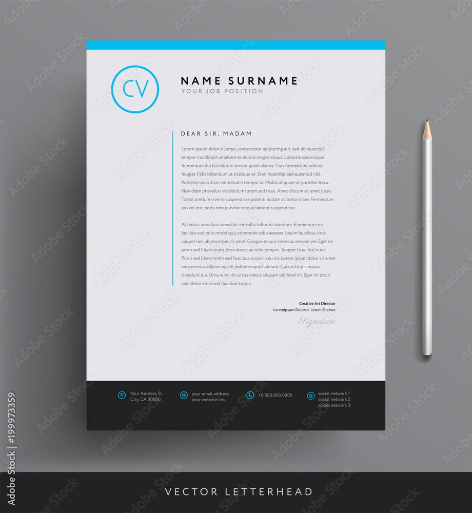 Obraz Elegant letterhead template design in minimalist style fototapeta, plakat