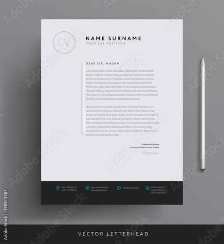 Fotomural  Elegant letterhead template design in minimalist style