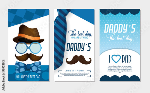 happy fathers day card with calligraphy and accessory vector illustration design Fototapeta