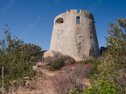 Foto op Canvas Rudnes The Spanish watchtower of Porto Giunco, Villasimius, Sardinia, Italy,
