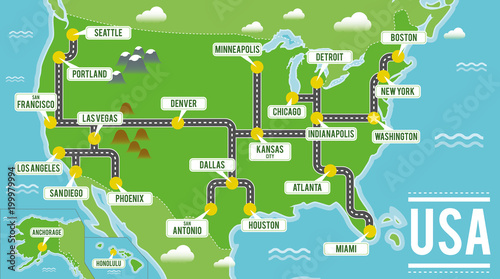 Cartoon vector map of USA. Travel illustration with american ...