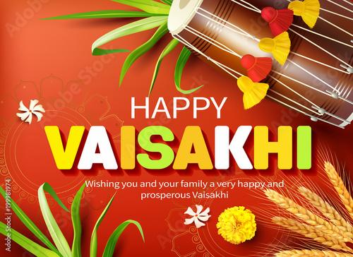 Fotografia, Obraz  Greeting card with traditional drum (dhol) for Punjabi festival Vaisakhi (Baisakhi)