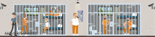 Cuadros en Lienzo Male prison interior.