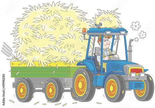 Hay Farmer Tractor Cartoon : Smiling farmer driving his wheeled tractor with a trailer