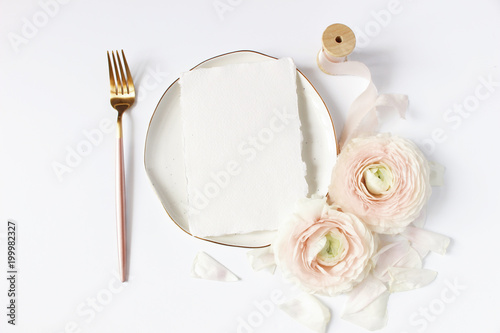 Feminine Wedding Birthday Desktop Mock Up Scene Porcelain Plate