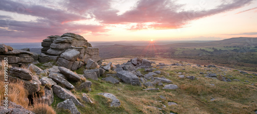Photo Sunset Kings Tor Dartmoor Devon Uk