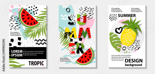 Trendy tropic and fruit (watermelon, pineapple) pattern covers set, vector