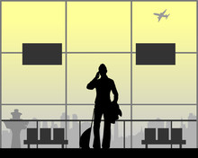 A Woman Phones At The Airport While Waiting For Her Flight, One In The Series Of Similar Images Silhouette