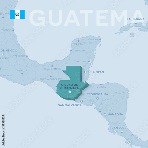Verctor Map of cities and roads in Guatemala. - Buy this stock ...