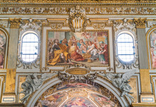 Fresco On The Side Of The Main Nave In The Basilica Of Santa Maria Maggiore In Rome, Italy.