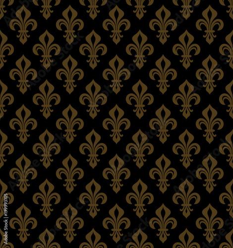 Foto  Royal Heraldic Lilies (Fleur-de-lis) — Rich black golden bronze copper velvet, seamless pattern, wallpaper background