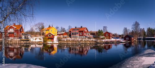 Staande foto Stockholm Sundborn - March 30, 2018: Panorama of the picturesque town of Sundborn in Dalarna, Sweden