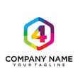 4 Letter Logo Icon Hexagon Design template Element