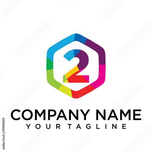 2 letter logo icon hexagon design template element buy this stock