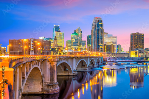Wall Murals United States Minneapolis downtown skyline in Minnesota, USA