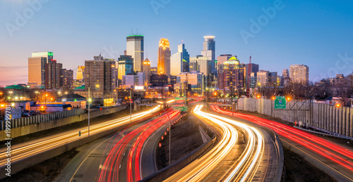 Acrylic Prints Night highway Minneapolis downtown skyline in Minnesota, USA