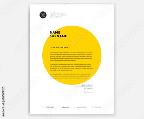 Fototapeta Creative letterhead template design - yellow cover letter vector illustration obraz