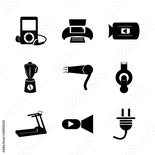 icon Electronic with blender, printer, elecronic, play and