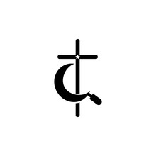 Cross With A Star And A Sickle Icon. Element Of Communism Illustration. Premium Quality Graphic Design Icon. Signs And Symbols Collection Icon For Websites, Web Design, Mobile App