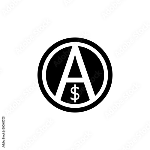 Fotografie, Obraz  a sign of anarchy and the dollar icon