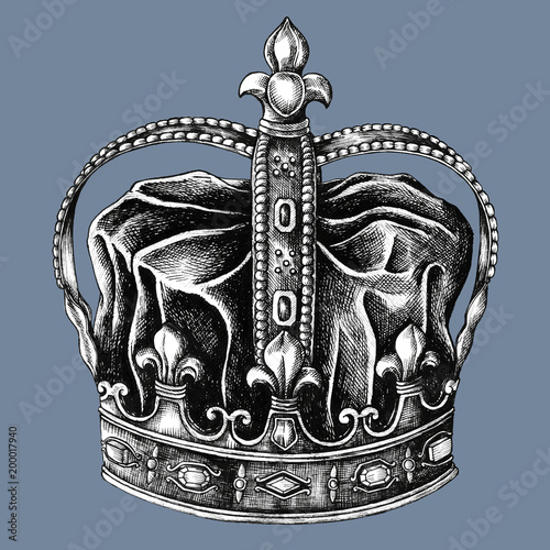 Hand drawn royal crown isolated on background