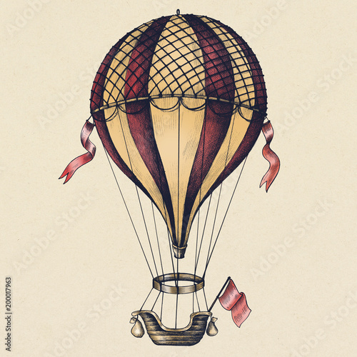 Foto auf Leinwand Retro Hot air balloon vintage style illustration