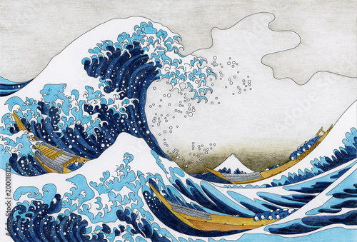 Fényképezés Hokusai The Great Wave Of Kanagawa adult coloring page