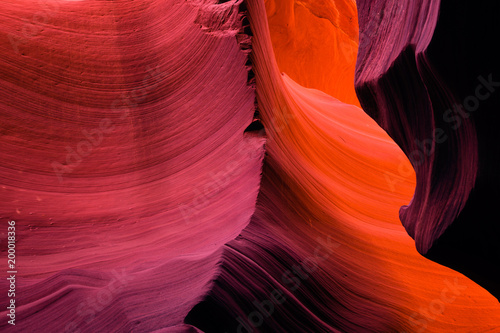 Fotobehang Antilope Layered sandstone curves of the Lower Antelope Canyon in Page Arizona create real visual masterpieces of nature
