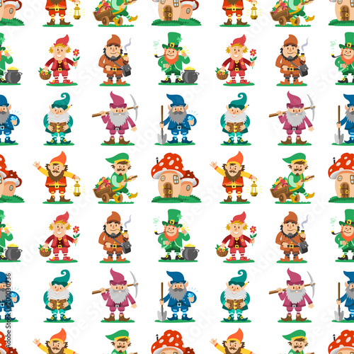 Fairy tale fantastic gnome seamless pattern background dwarf elf character poses Canvas Print
